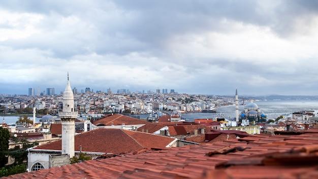Vue de l'istanbul par temps nuageux, détroit du bosphore divisant la ville en deux parties, plusieurs bâtiments, nouvelle mosquée, turquie