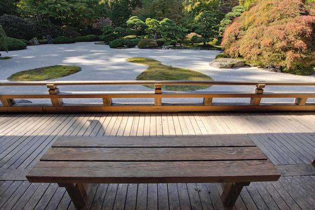 Vue, de, japonais, jardin sable, depuis, banc bois