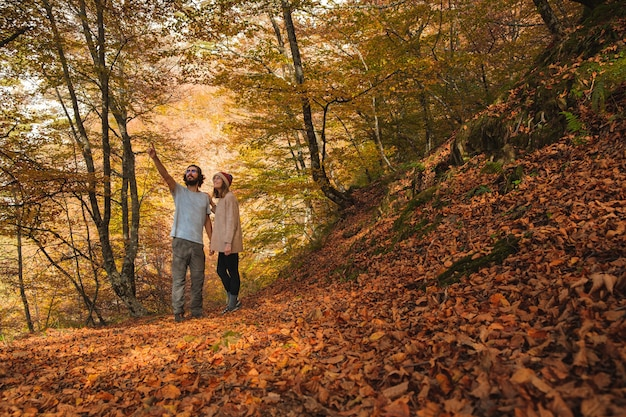 Vue d'un jeune couple admirant la forêt couverte de feuilles à l'automne