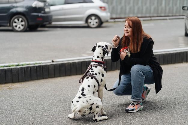 Vue sur une jeune femme de race blanche jouant et entraînant son chien dalmatien