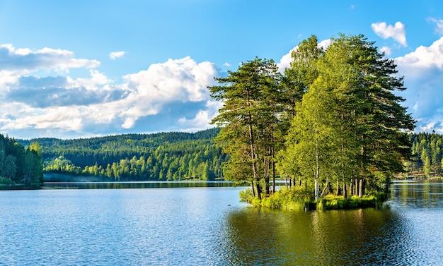 Vue sur le lac sognsvann au nord d'oslo en norvège