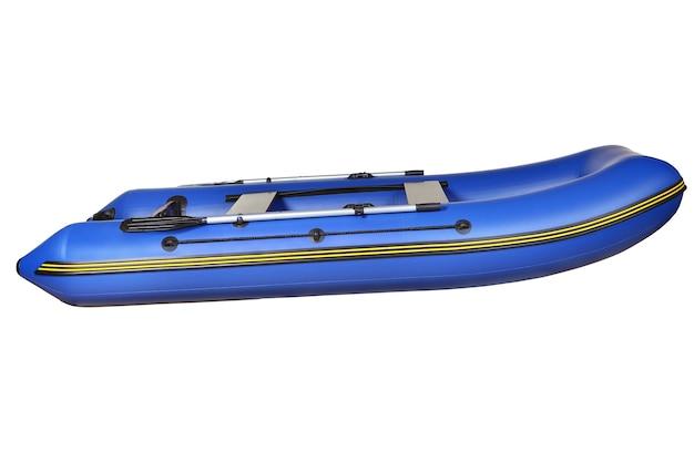 Vue latérale d'un bateau de pêche gonflable en caoutchouc bleu, en pvc, avec des rames et deux sièges.