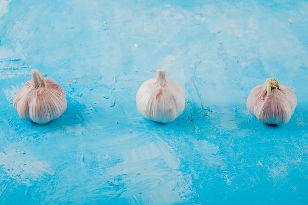 Vue latérale des bulbes d'ail sur fond bleu avec copie espace