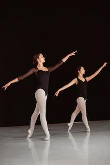 Vue latérale des danseurs de ballet professionnels en justaucorps dansant en pointes