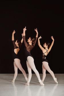 Vue latérale des danseurs de ballet professionnels en justaucorps