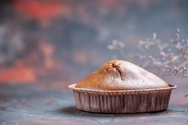 Vue latérale du cupcake au chocolat les branches d'arbres appétissants de cupcake au chocolat