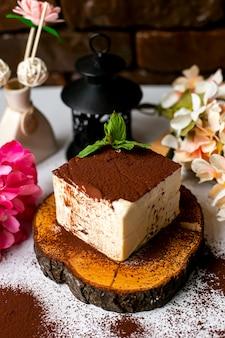 Vue latérale du gâteau souple avec de la poudre de cacao et de la menthe sur le dessus