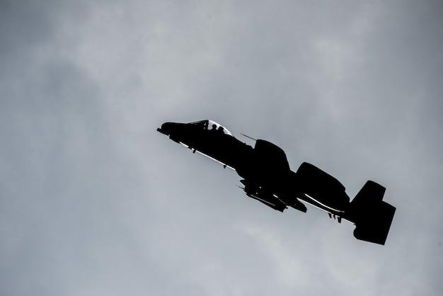 Vue latérale du jet militaire en vol