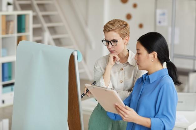Vue latérale du portrait de deux femmes d'affaires écrivant sur tableau blanc lors de la planification du projet au bureau, copiez l'espace