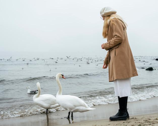 Vue latérale d'une femme à la plage en hiver avec des cygnes