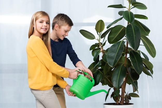 Vue latérale de la fleur d'arrosage pour enfants