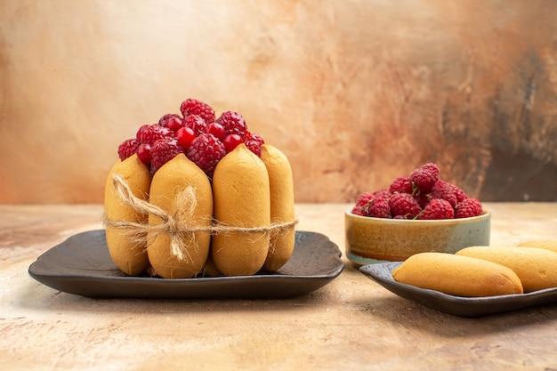 Vue latérale d'un gâteau aux fruits et biscuits sur table de couleurs mixtes