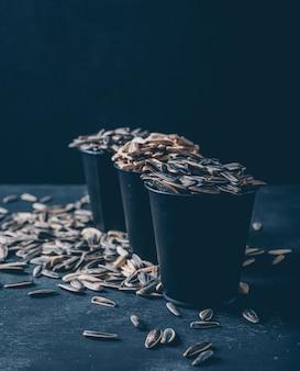 Vue latérale des graines de tournesol noir et blanc dans des seaux sur fond noir. verticale