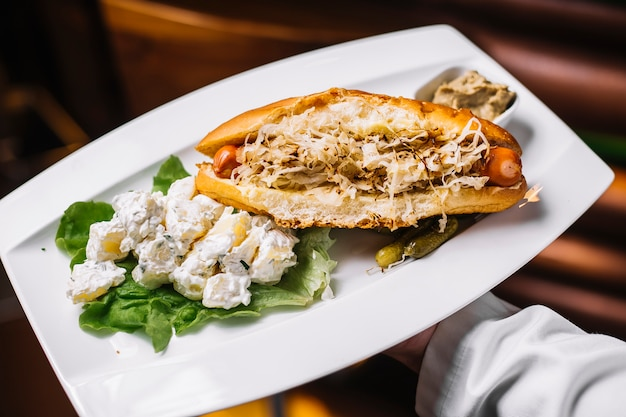 Vue latérale hot-dog avec du chou et des pommes de terre en mayonnaise avec concombres salés et sauce