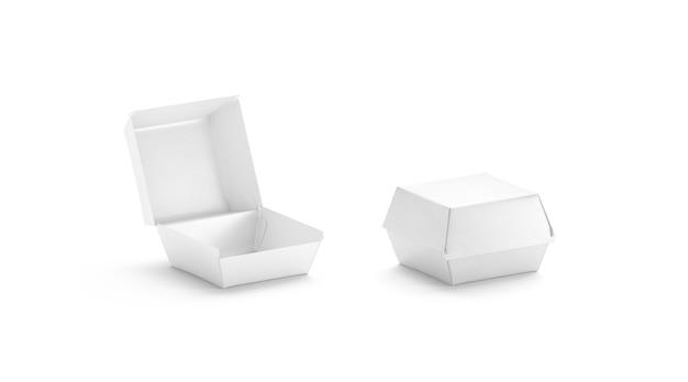 Vue latérale de la maquette de la boîte à hamburger blanche ouverte et fermée vierge ailes de poulet vides en boîte maquette