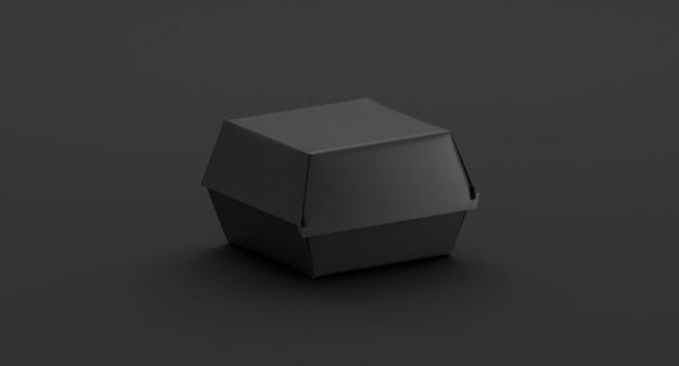Vue latérale de la maquette de la boîte à hamburger noire vierge