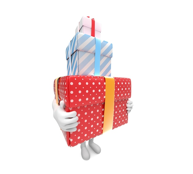 Vue latérale d'une petite personne portant trois boîtes-cadeaux rigides