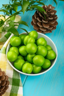 Vue latérale de prunes vertes aigres dans un bol blanc et des cônes sur tissu écossais sur table de table bleue