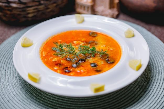 Vue latérale de la soupe aux légumes décorée d'olives noires et d'aneth dans une assiette