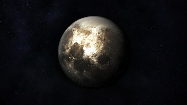 Vue de la lune réaliste dans le contexte de l'espace extra-atmosphérique.