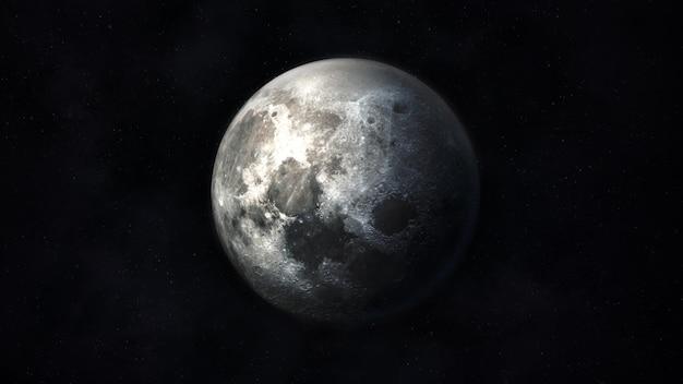 Vue de la lune réaliste dans des couleurs gris foncé sur le fond de l'espace extra-atmosphérique.