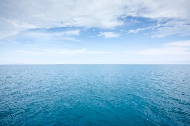 Vue sur la mer bleue dans une journée calme et tranquille vagues surface douce, texture motif de fond abstrait