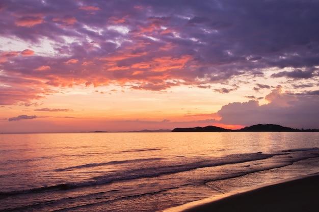 Vue mer, ciel coucher soleil