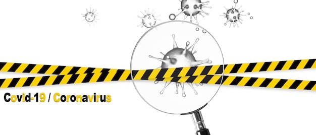 Vue microscopique des cellules du virus corona. illustration 3d