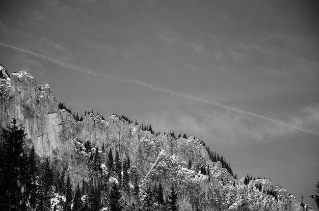 Vue sur la montagne en noir et blanc