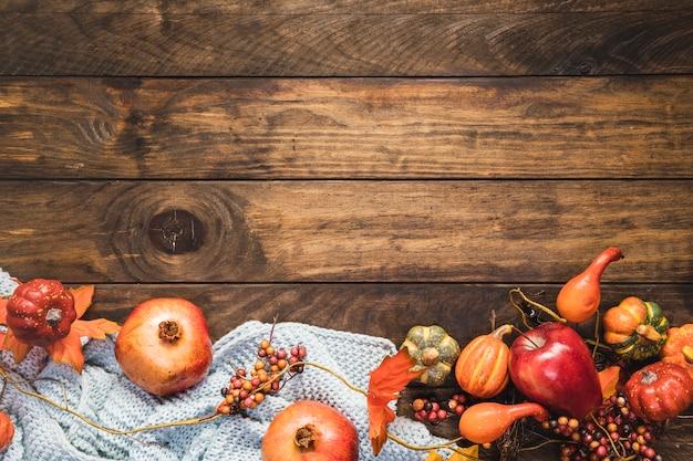 Vue de la nourriture vue de dessus sur la couverture
