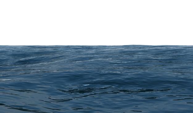 Vue sur l'océan en journée d'été ensoleillée sur un rendu 3d de fond blanc