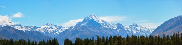 Vue panoramique de l'aoraki mount cook dans l'île du sud en nouvelle-zélande