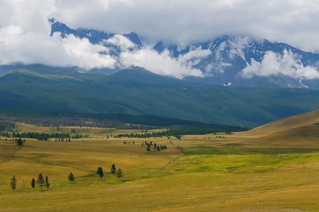 Vue panoramique de la chaîne enneigée de north-chuya dans les montagnes de l'altaï en été, sibérie, russie
