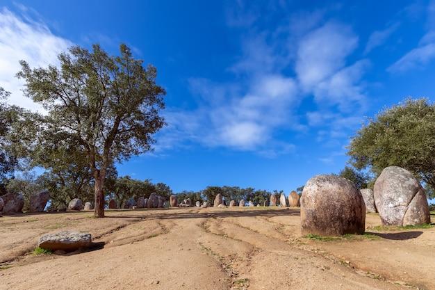 Vue panoramique sur le complexe mégalithique almendres cromlech (cromelelique dos almendres) evora, alentejo, portugal