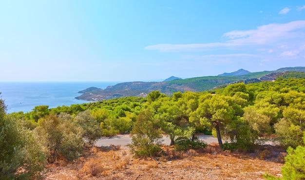 Vue panoramique sur la côte de l'île d'egine dans la ville d'agia marina, îles saroniques, grèce