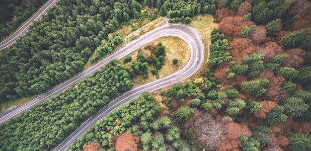 Vue panoramique de la courbe de route