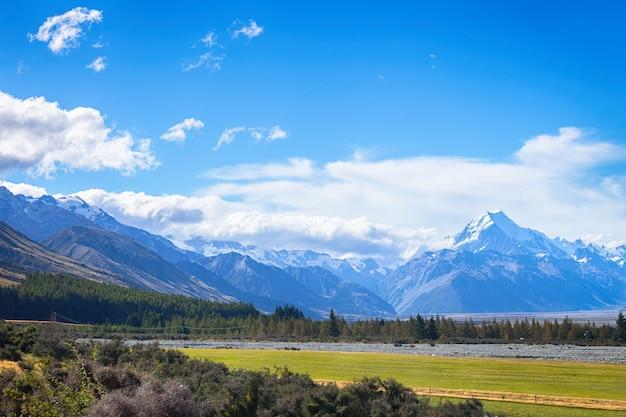 Vue panoramique du mont cook sur l'île du sud de la nouvelle-zélande