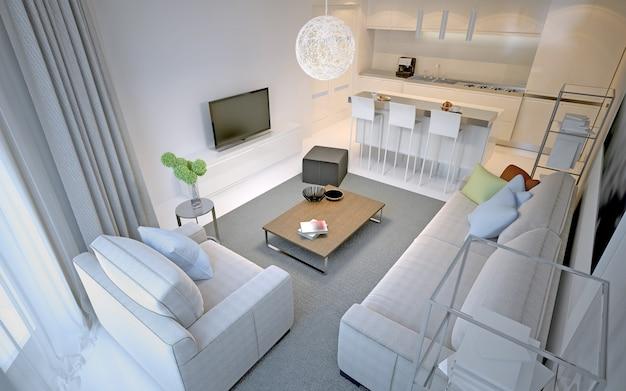 Vue panoramique du studio contemporain. intérieur lumineux avec murs blancs, sol en béton poli, meubles ikea blancs. rendu 3d