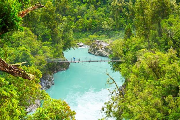 Vue panoramique, de, gorge, lac hokitika, gorge, hokitika, île sud, nouvelle zélande