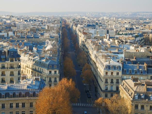 Vue panoramique grand angle de la ville de paris.