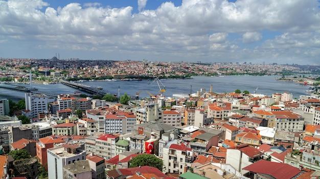 Vue panoramique d'istanbul depuis la tour de galata.