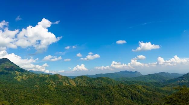 Vue panoramique des montagnes vertes de l'été, ciel bleu et nuages blancs.