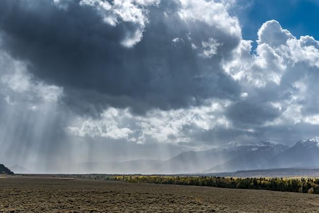 Vue panoramique sur le parc national de grand teton