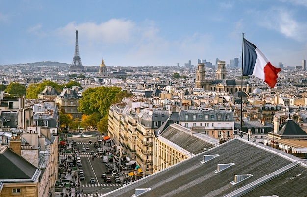 Vue panoramique de paris du haut du panthéon à paris, france