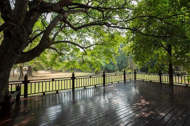 Vue panoramique sur une pelouse verte et une forêt d'arbres depuis un balcon en bois dans un style vintage classique.
