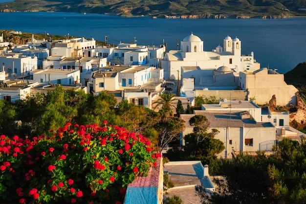 Vue panoramique pittoresque de la ville grecque de plaka sur l'île de milos sur des fleurs de géranium rouge