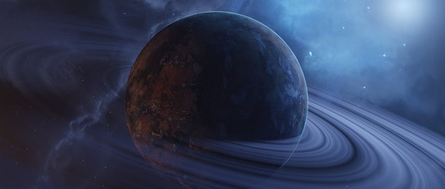 Vue panoramique des planètes, rendu 3d.