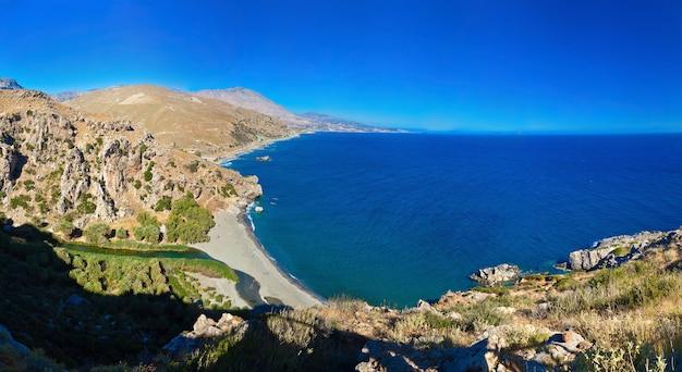 Vue panoramique près de la plage de preveli, crète