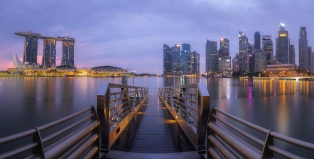 Vue panoramique, de, singapour, marina, baie, soir