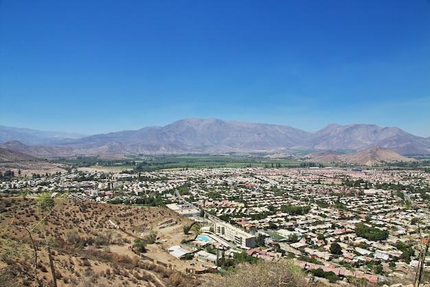 Vue panoramique sur la ville de los andes, chili